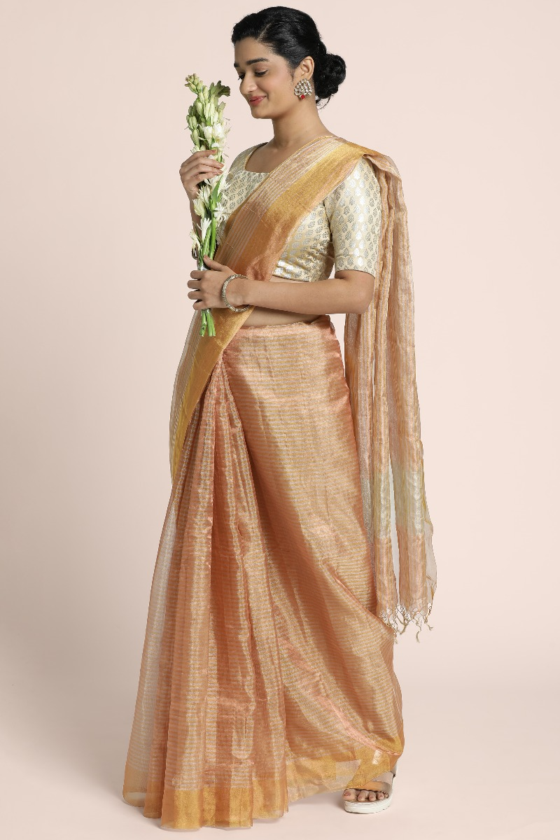 Benarasi tissue saree with copper and silver stripes