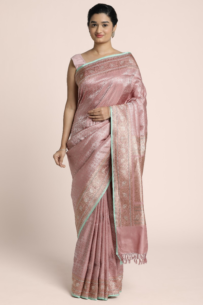 Pure silver woven Bnarasi saree on Duty rose silk with finer detailing