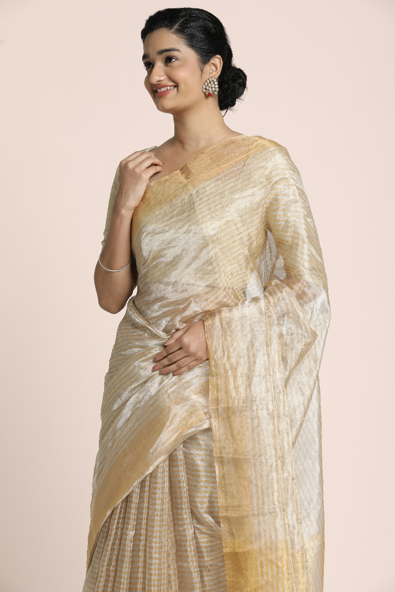 Banarasi light golden and silver stripped saree with golden bhavinchi border