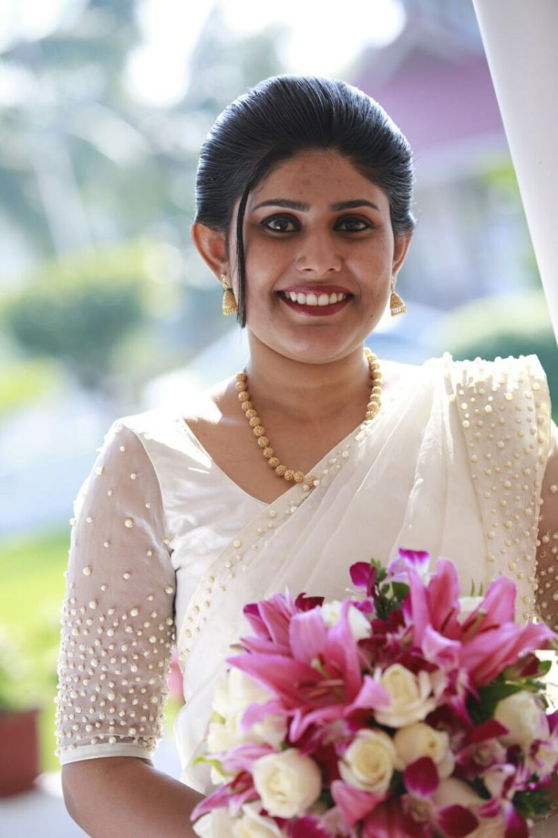 Beautiful Signature Bridal Saree in Organza from our collection  Carried by pretty bride Amy on her wedding