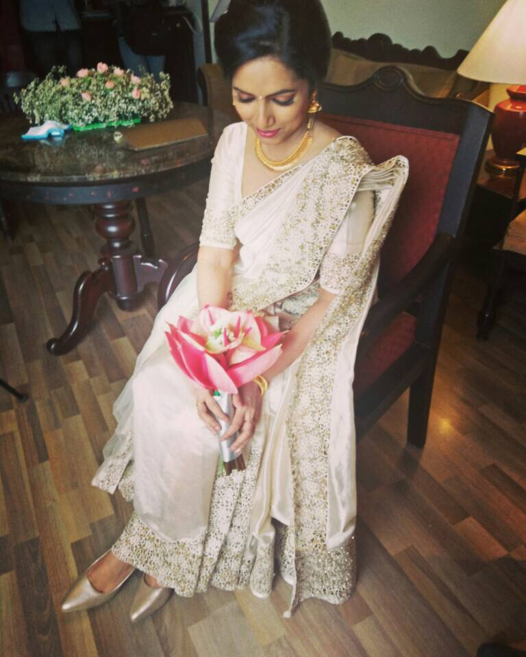 Beautiful Signature Bridal Cutwork Saree from our collection  Carried by pretty bride Taniya on her wedding