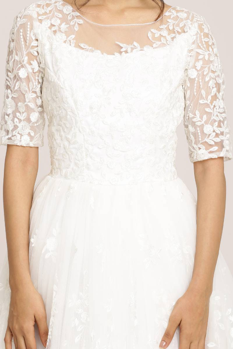Floral Embroidered Lace Gown
