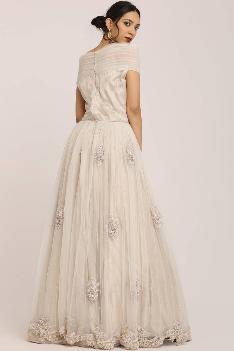 Pleated Off-Shoulder Bodice Gown