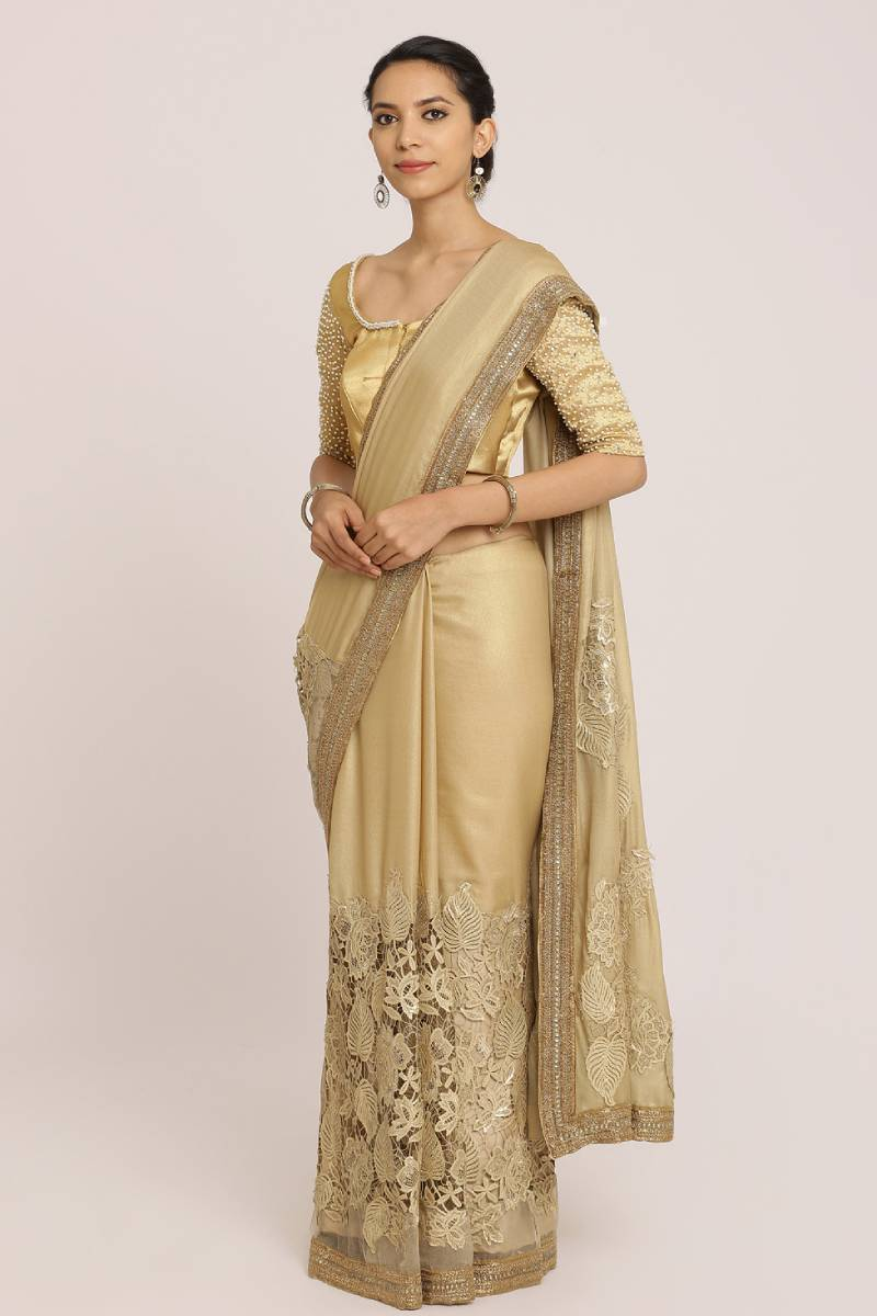 Dull Golden Tissue Crepe Saree