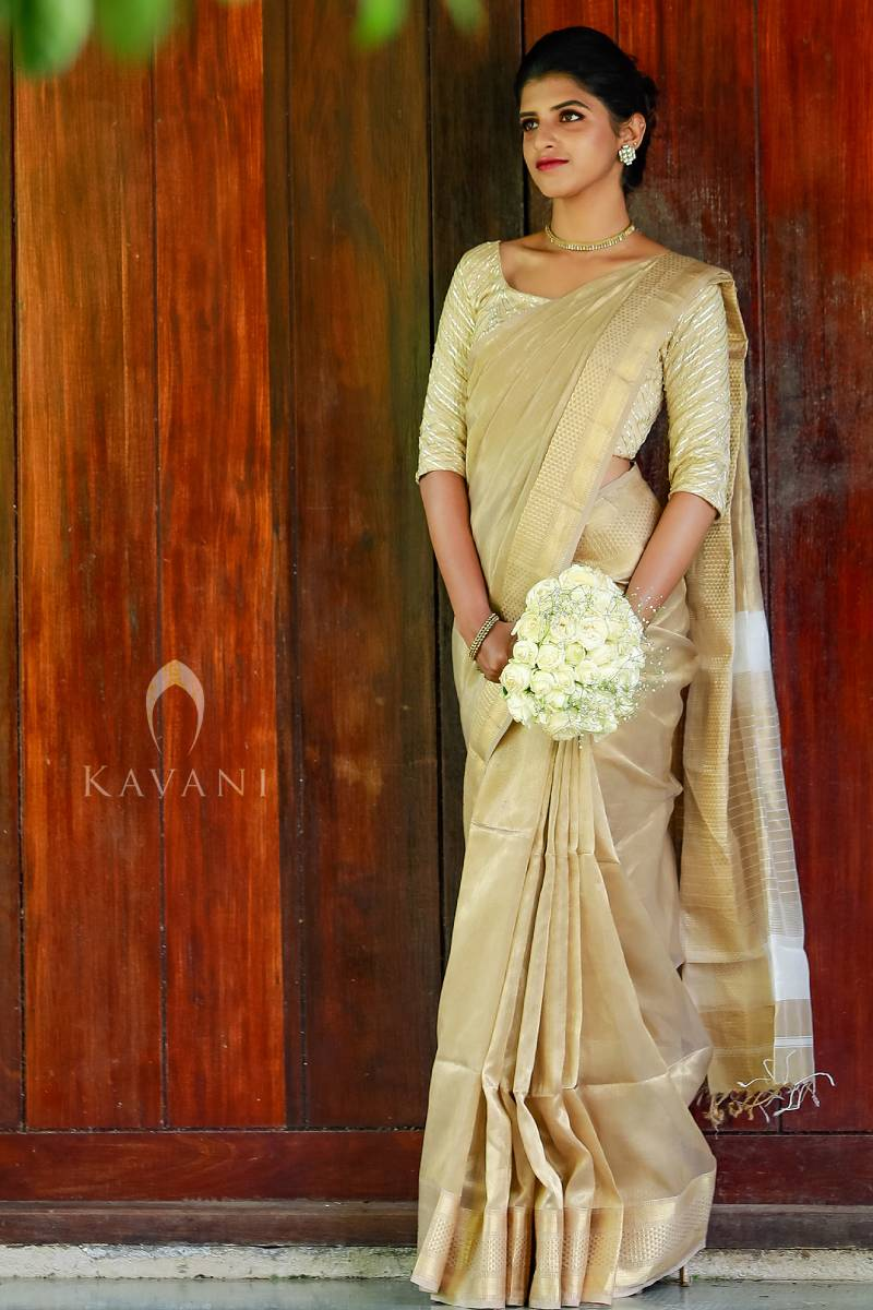 Pure Tissue Light Golden Saree