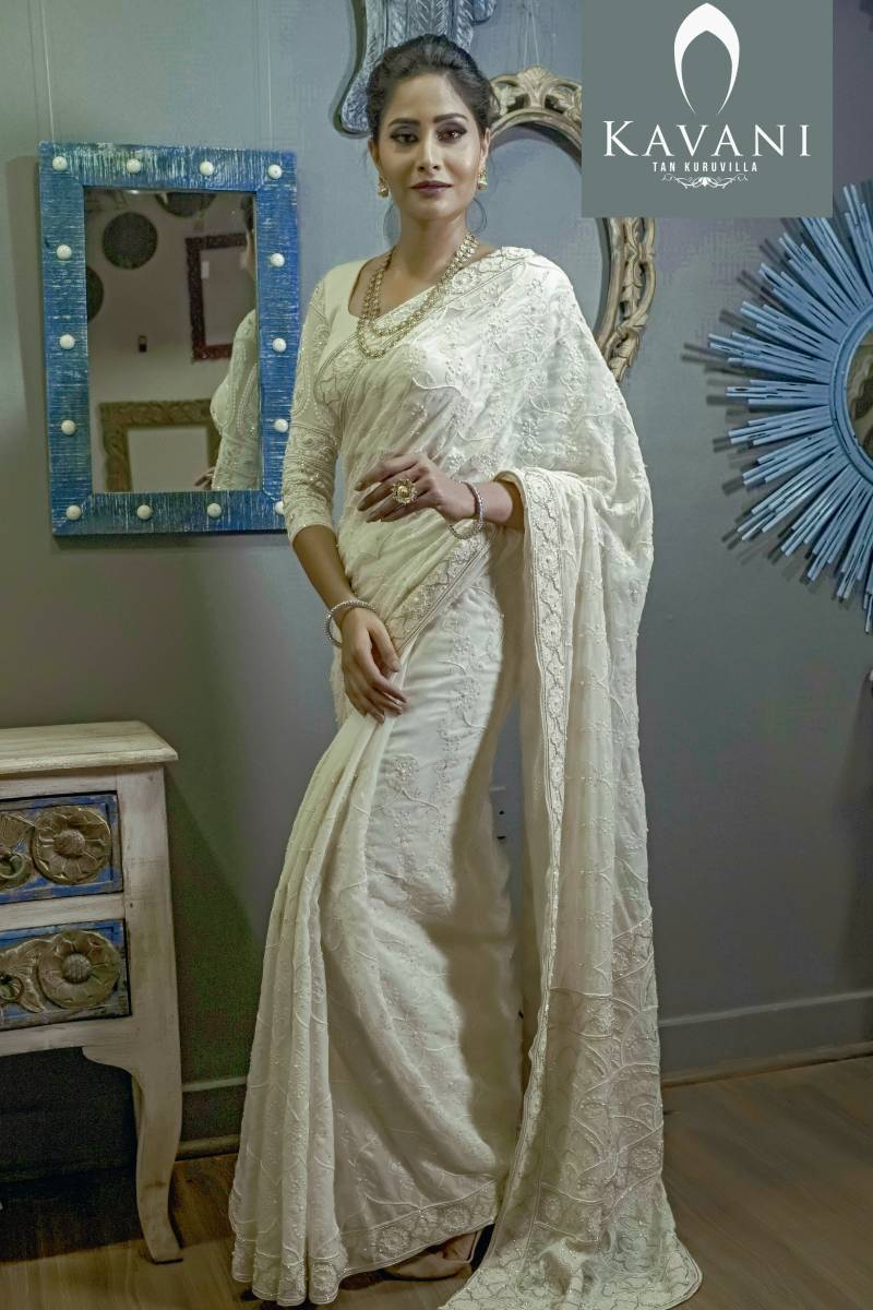 Off-White Chikan Work Saree