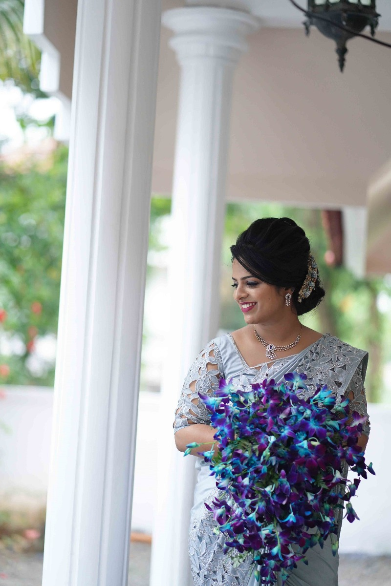 Beautiful Signature Cutwork Saree from our collection  Carried by pretty bride Sruthy on her wedding