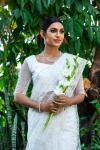 Pearlwhite Floral Embroidered saree Hand Embellished