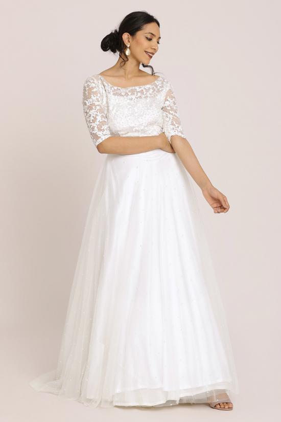 White Lace Embroidered Gown