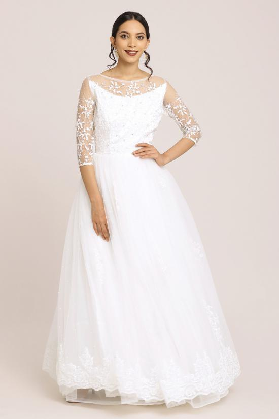 Floral White Embroidered Lace Gown