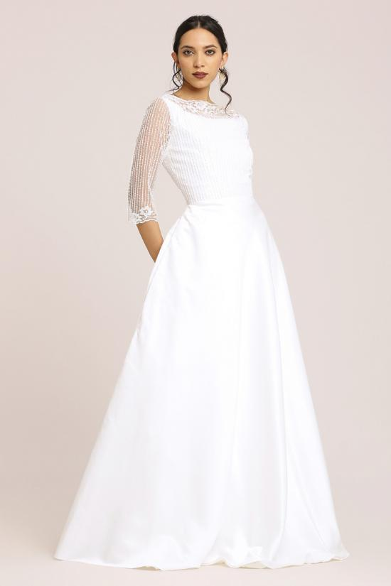 White Satin A-Line Gown