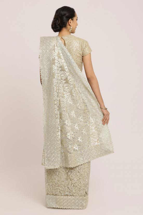 Silver Shade Fully Embroidered Saree