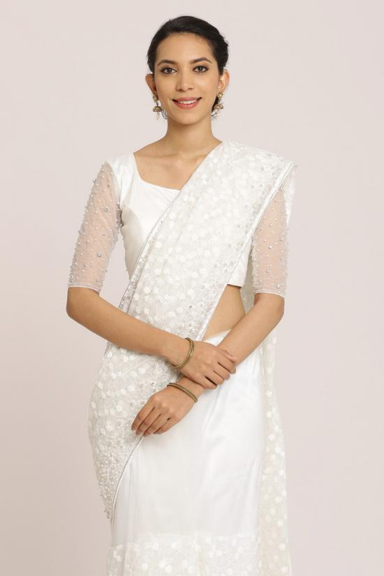 Small Floral Embroidered White Saree
