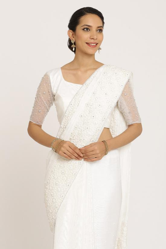White Muga Silk Saree