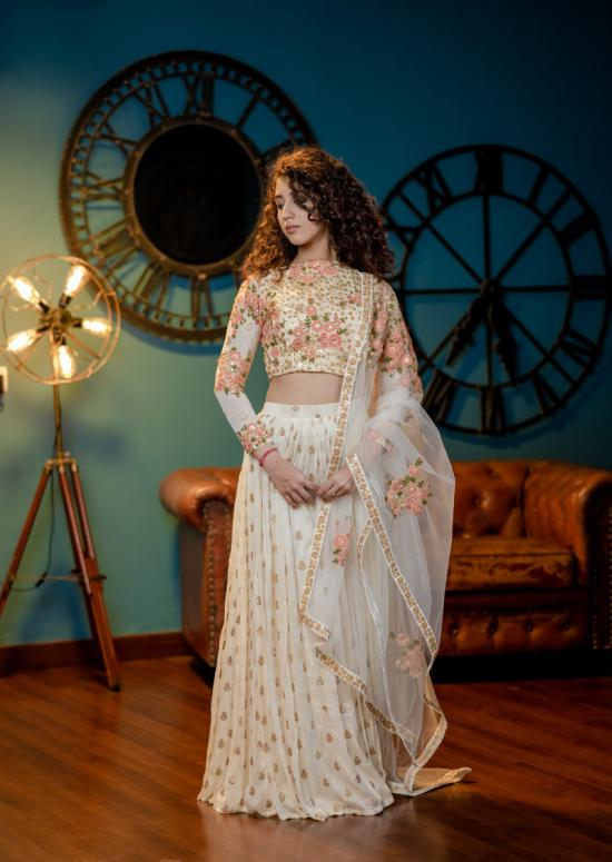 Floral Embroidered Offwhite Bridal Lehenga
