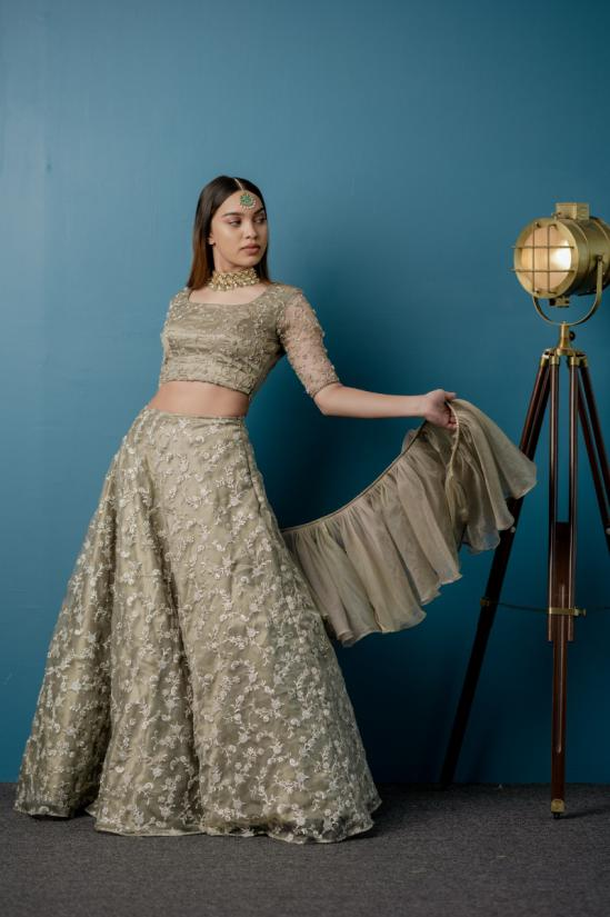 Silver Grey Engagement fully jeri embroidered Lehenga paired with hand embellshed blouse and ruffled dupatta