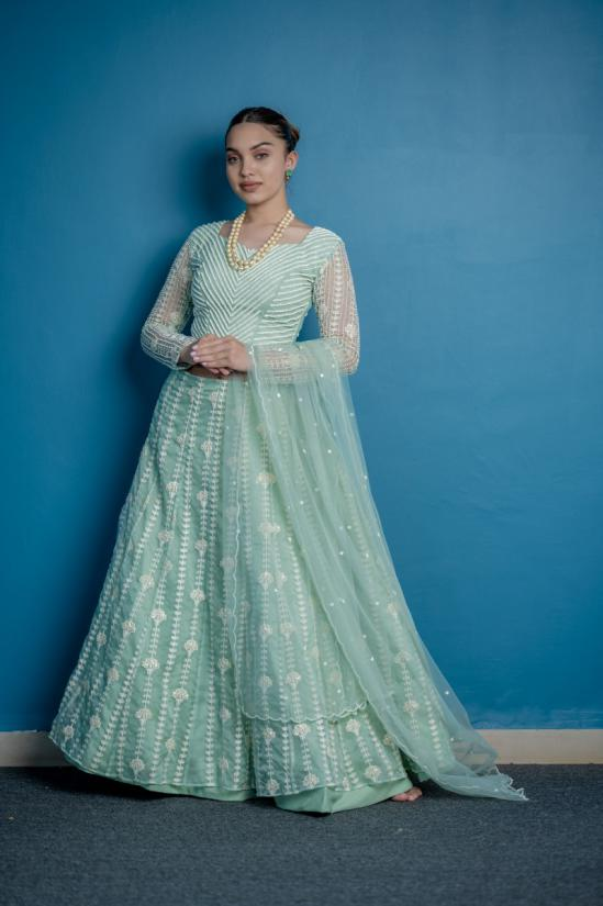Aqua Green Pastel Bridal lehanga with blouse pearl embroidered and thread woven Stipped skirt with scalloped dupattta