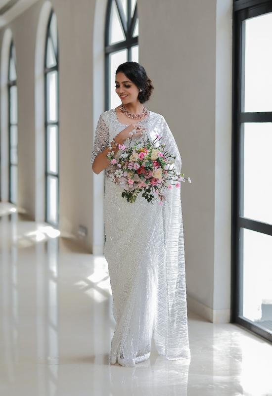 Pearl White Hand embroidered Saree