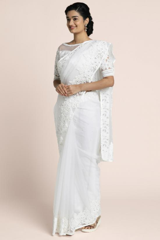 Guipiure lace applique with cutbead and pearl embellishment on pearl white organza saree