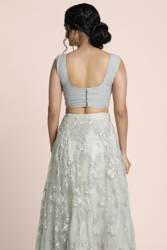 Fully embroidered cutbead and pearl bead embellished lace skirt in pale grey