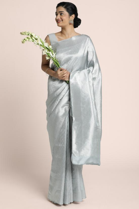 Pure Silver woven Kanchipuram saree  with finer details