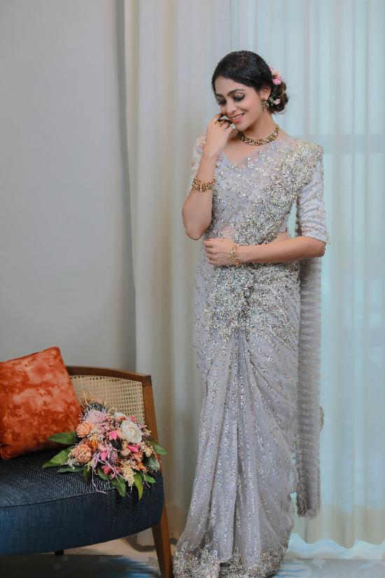 Rosegold to grey Net saree Hnd embroidered